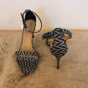 J. Crew Black & White Ankle Strap Heels